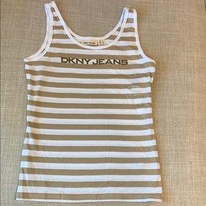 DKNY tan striped tank top